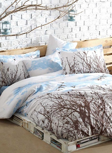 Eponj Home Kolay Ütülenir Nevresim Takımı Çift Kişilik Peace  (Gündüz) Mavi